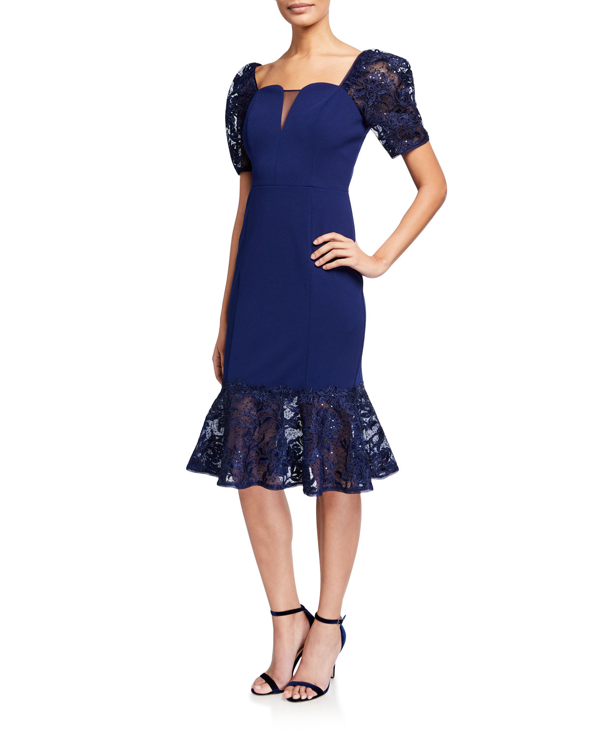 Aidan Mattox Short-Sleeve Crepe Dress with Lace Trumpet Skirt