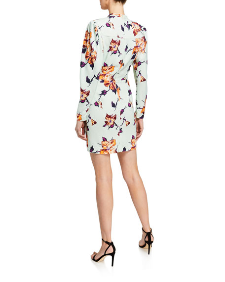 Image 2 of 2: A.L.C. Jane Floral Crepe Puff-Sleeve Dress