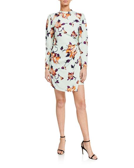 Image 1 of 2: A.L.C. Jane Floral Crepe Puff-Sleeve Dress