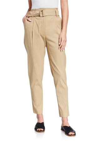 A.L.C. Diego High-Waist Belted Linen-Stretch Pants