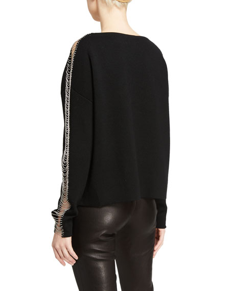 Image 2 of 2: Alice + Olivia Marmont Crewneck Pullover With Chains