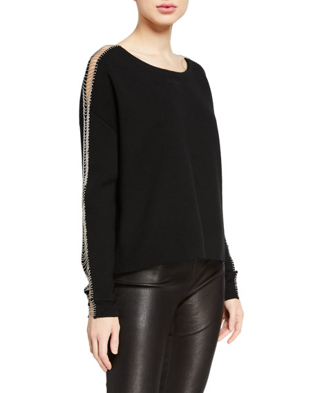 Image 1 of 2: Alice + Olivia Marmont Crewneck Pullover With Chains