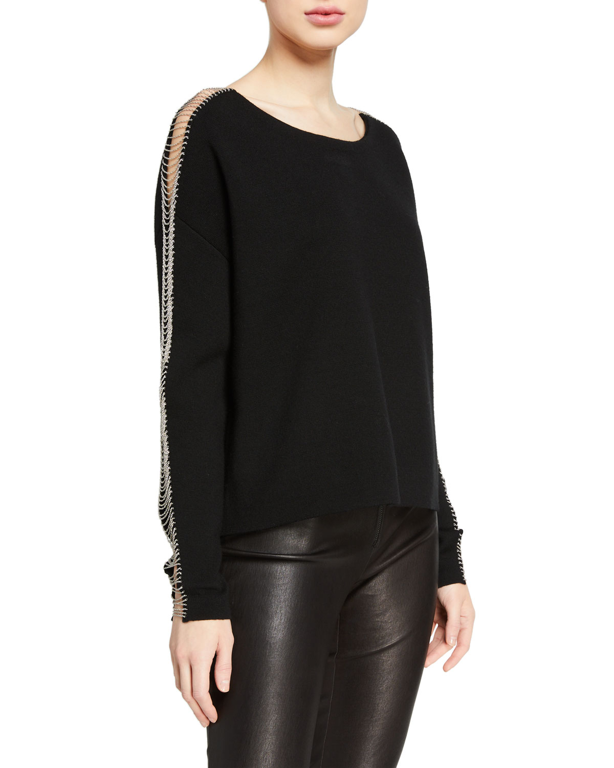 Alice + Olivia Marmont Crewneck Pullover With Chains