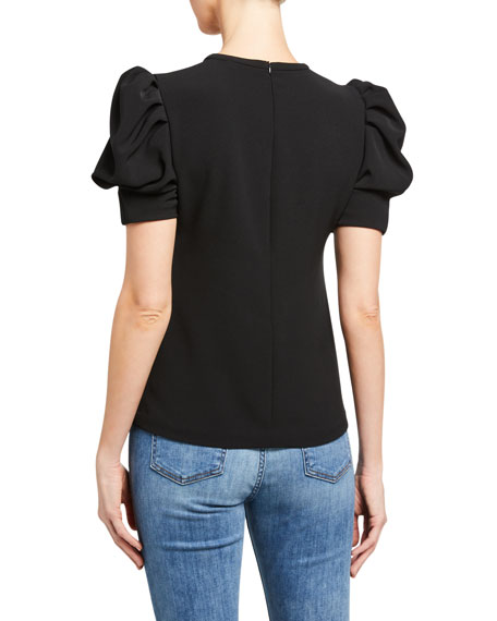 Image 2 of 2: A.L.C. West Puff-Sleeve Crepe Top