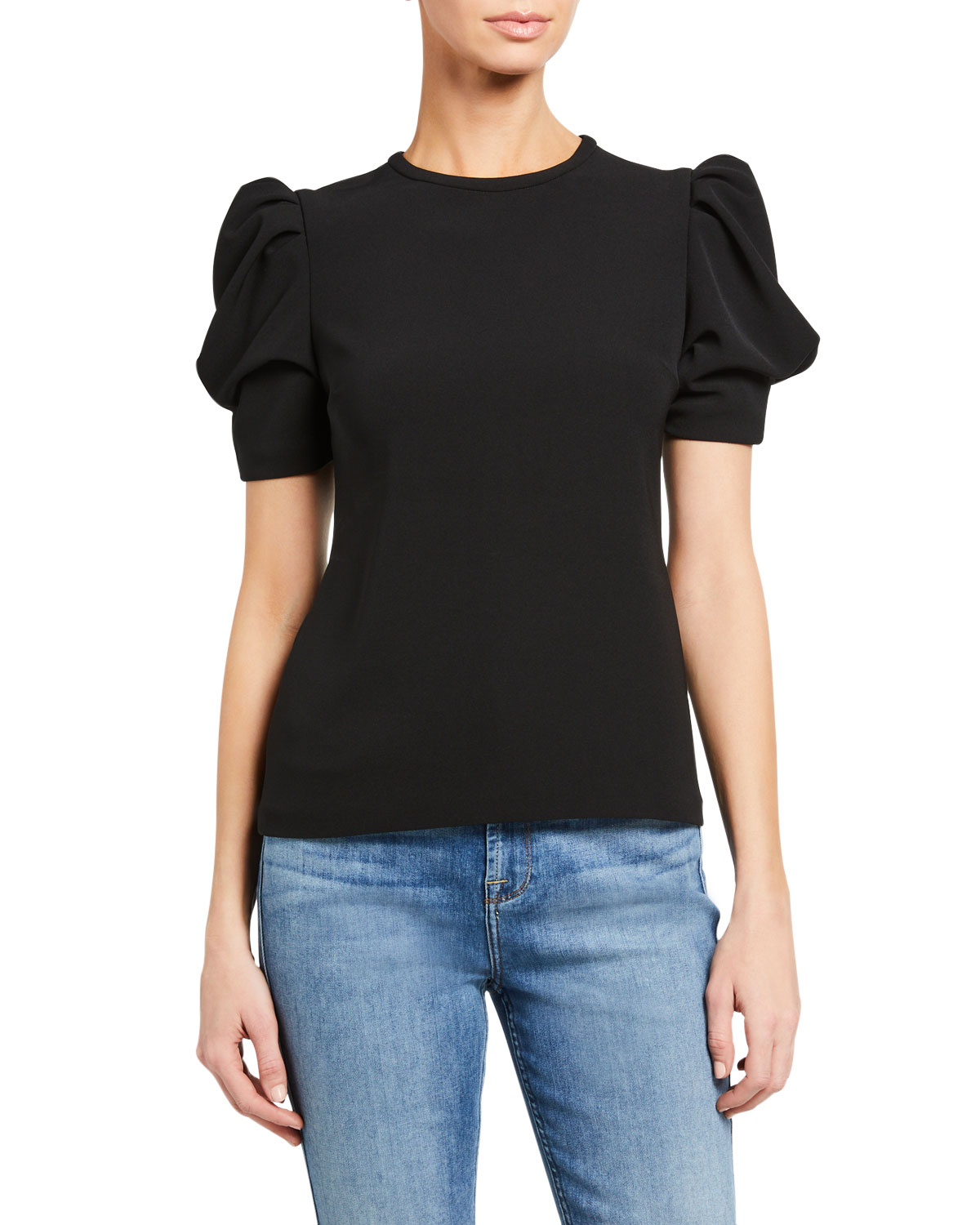 A.L.C. West Puff-Sleeve Crepe Top