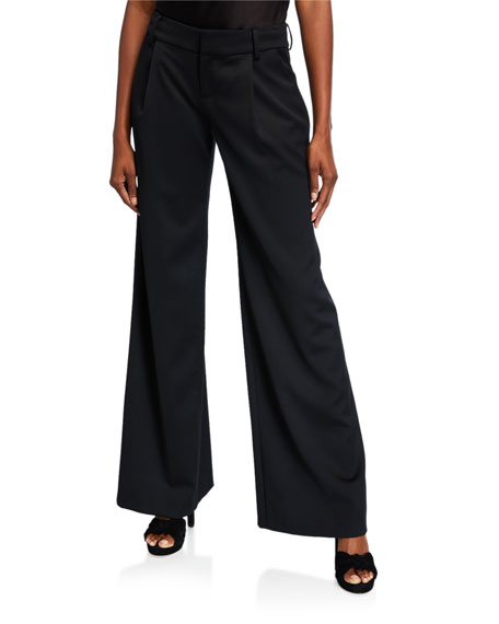 Alice + Olivia Eric High-Waist Wool-Stretch Pants