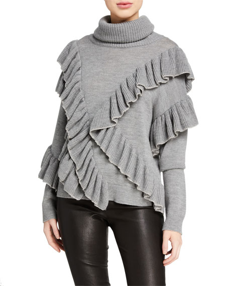 Alice + Olivia Libbie Ruffled Pullover Sweater