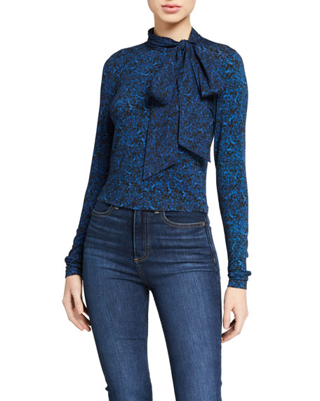Alice + Olivia Delaina Tie-Neck Long-Sleeve Crop Top