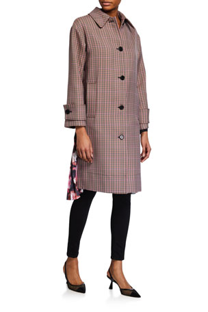 MSGM Cappotto Plaid Coat w/ Pleats