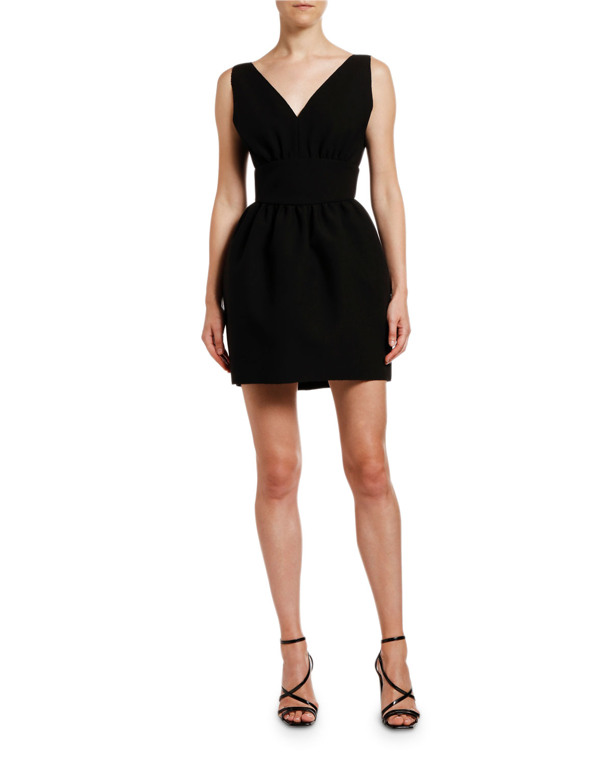 MSGM Abito V-Neck Sleeveless Mini Pouf Dress