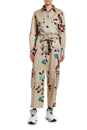 MSGM Tuta Floral Long-Sleeve Jumpsuit