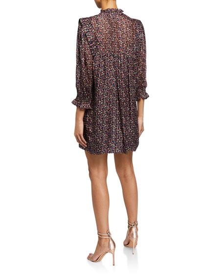 ba&sh Deep Printed 3/4-Sleeve Dress