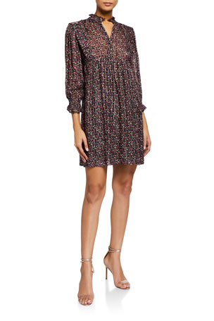 ba&sh Deep Printed 3/4-Sleeve Dress