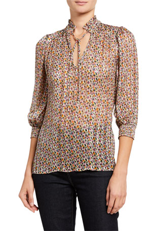 ba&sh Dalas Printed Tie-Neck Shirt