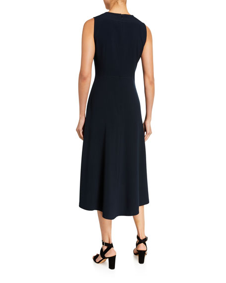 Elie Tahari Leighton Sleeveless High-Low Crepe Dress