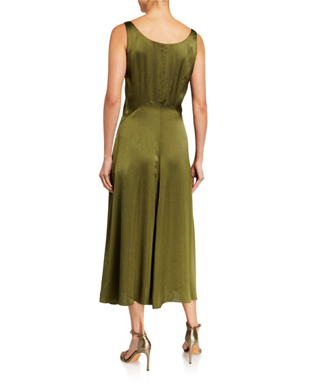 Elie Tahari Olive Sleeveless Satin Midi Dress