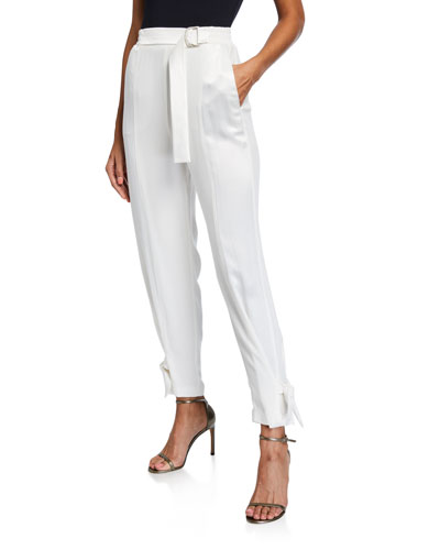Marinaro Mid-Rise Belted Ankle Pants