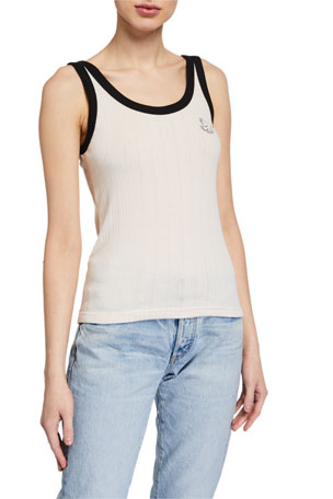 Maison Labiche Freedom Embroidered Scoop-Neck Tank