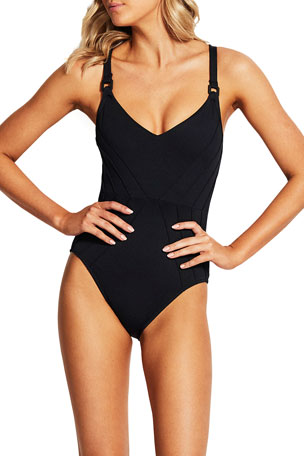 Seafolly Pintucked Maillot One-Piece Swimsuit