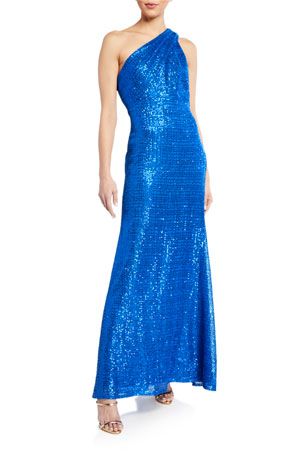 SHO One-Shoulder Sequin Gown