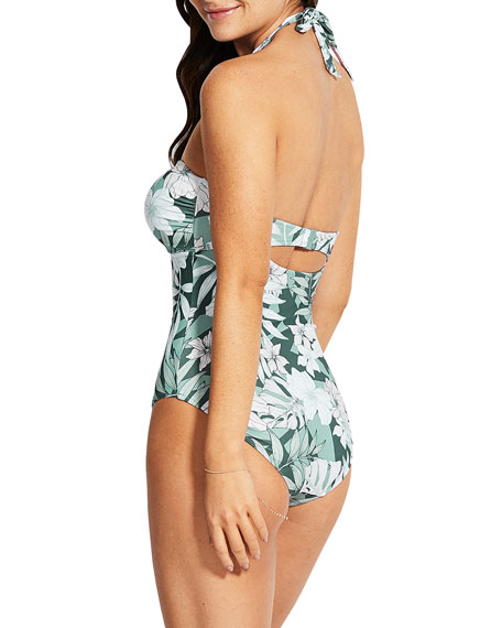 Image 3 of 3: Seafolly O-Ring Printed Halter One-Piece Swimsuit (DD Cup)