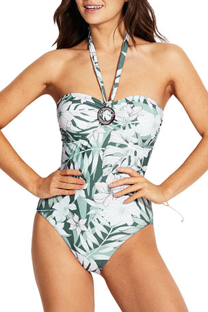 Seafolly O-Ring Printed Halter One-Piece Swimsuit (DD Cup)