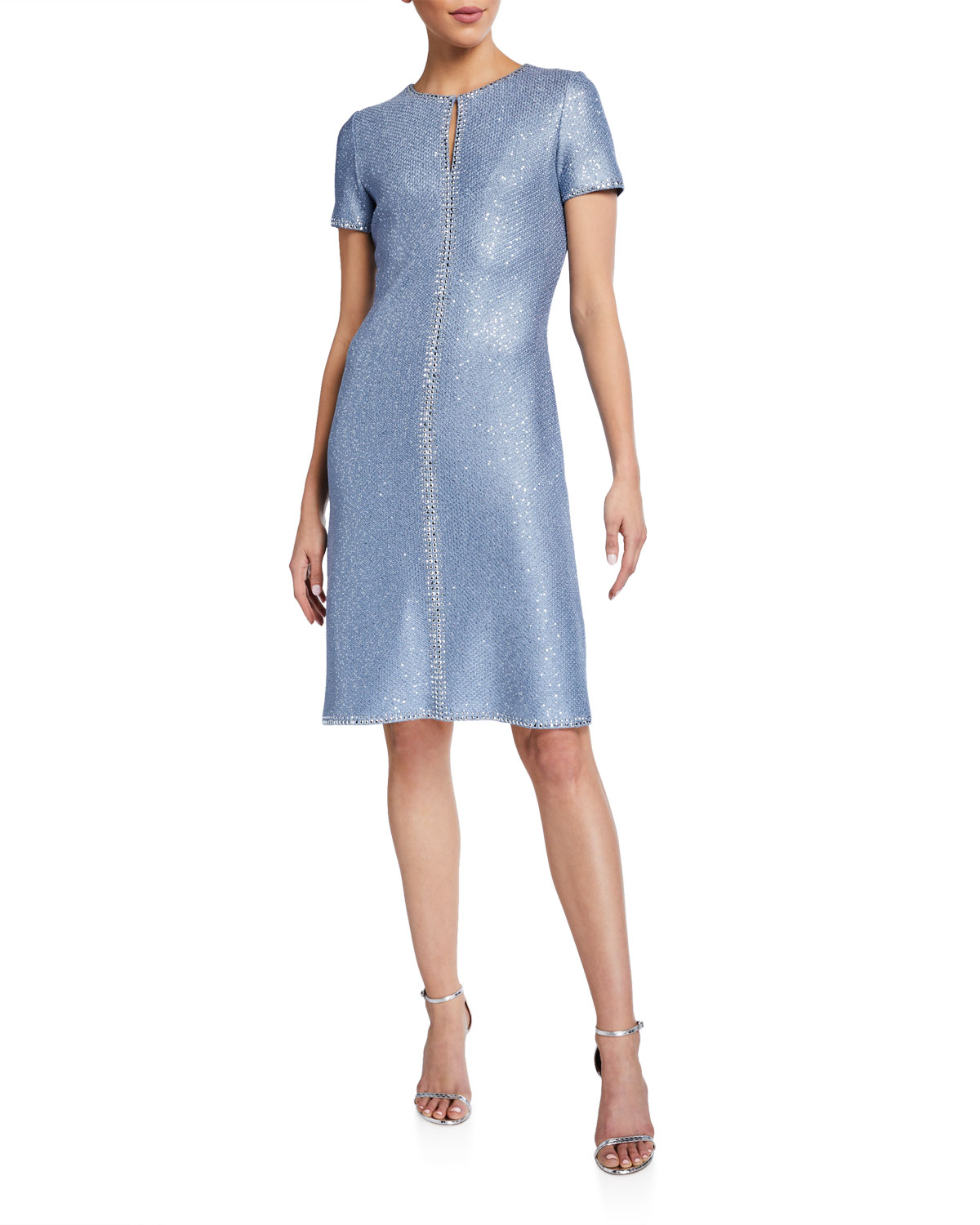 St. John Collection Sequined Keyhole-Neck Dress