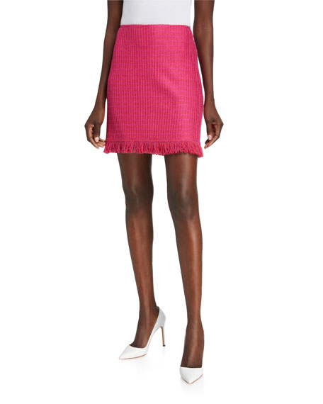St. John Collection Poppy Textured Knit A-Line Skirt