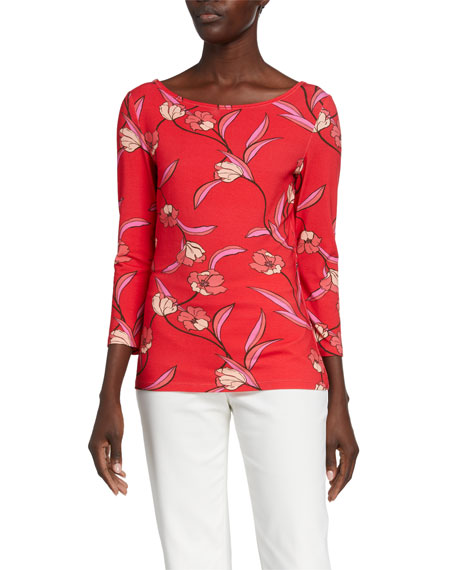St. John Collection Spring Floral Print Jersey Boat-Neck T-Shirt
