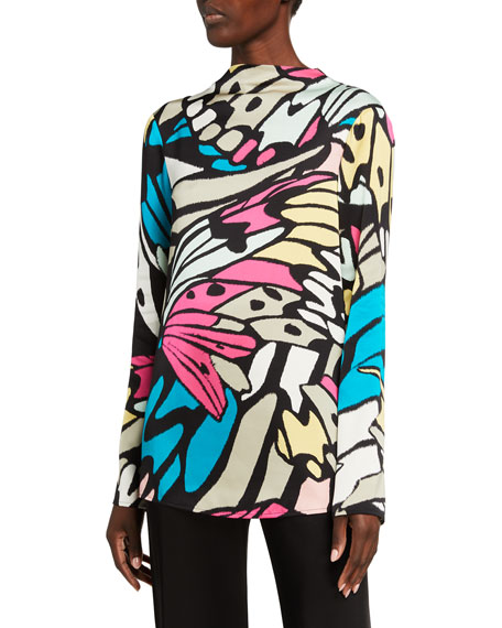 St. John Collection Monarch Butterfly Print Tie-Back Top