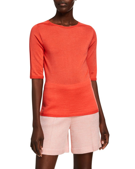 St. John Collection Wool-Silk Jersey 1/2-Sleeve Top