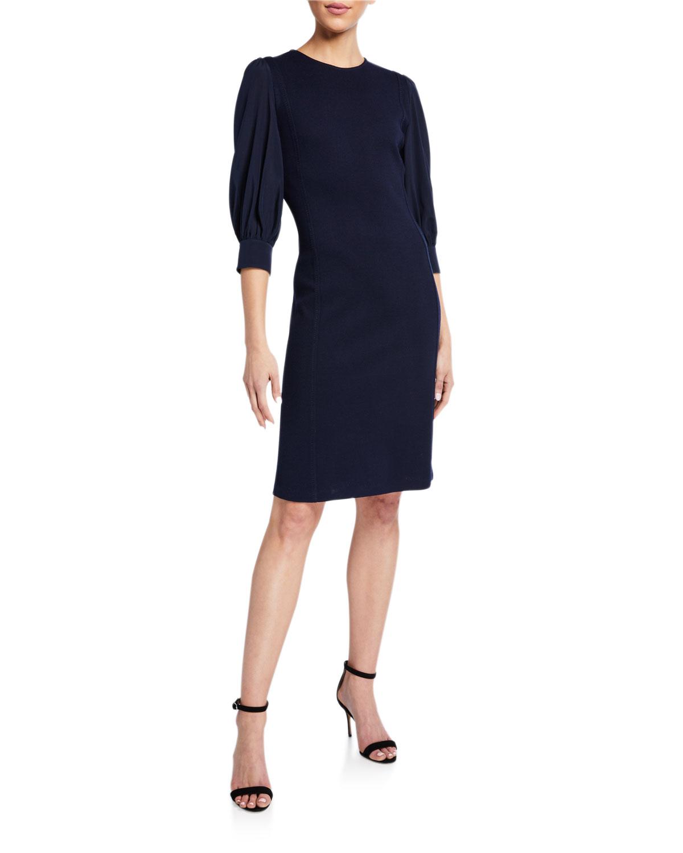 St. John Collection Milano Knit Chiffon Sleeve Dress