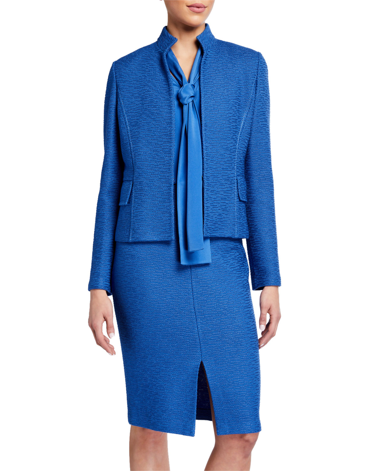 St. John Collection Shantung Ottoman High-Neck Jacket