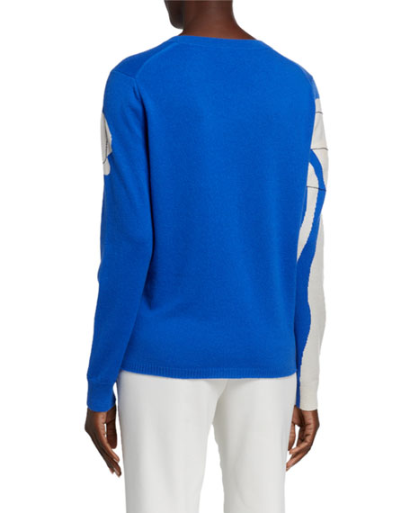 St. John Collection Cashmere Sweater with Artisanal Paisley Intarsia