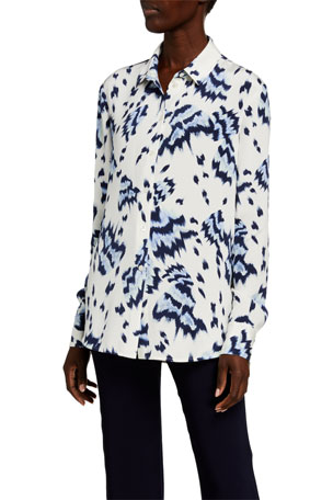 St. John Collection Painted Butterfly Print Crepe de Chine Blouse