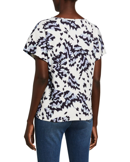 St. John Collection Painted Butterfly Print T-Shirt