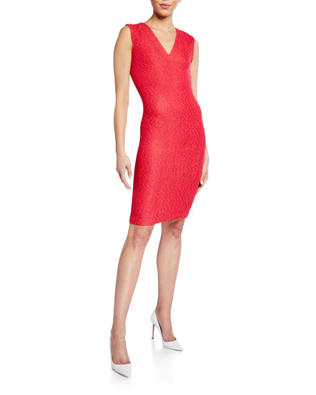 St. John Collection V-Neck Refined Knit Bodycon Dress