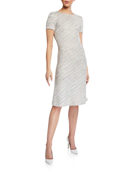 St. John Collection Ombre Tweed Cap-Sleeve Dress