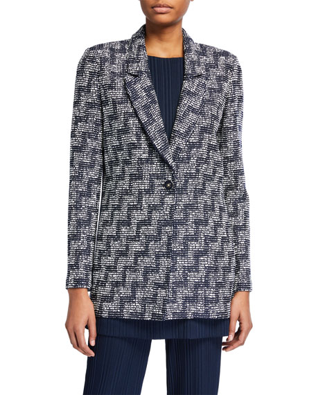 St. John STEPPED WICKER INLAY LONG JACKET