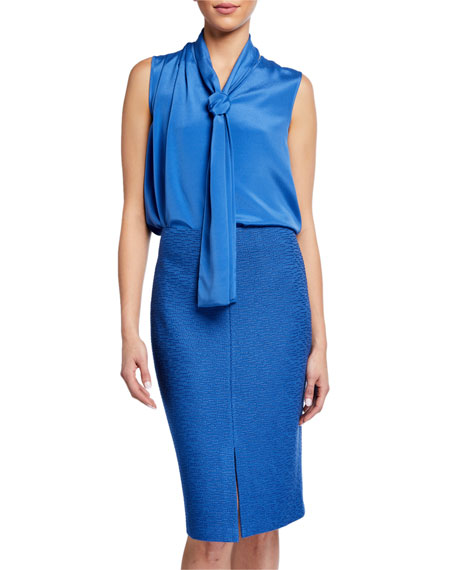 St. John Collection Stretch-Silk Blouse with Detachable Scarf