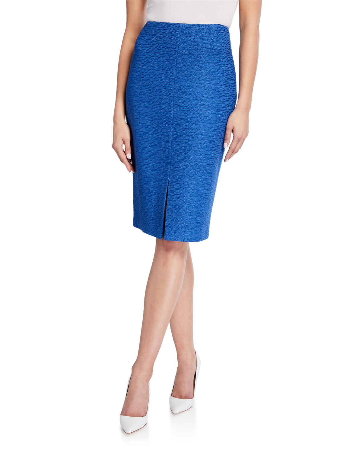 St. John Collection Shantung Ottoman Knit Skirt