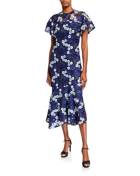 Shoshanna Mystic Floral Garden Flounce-Hem Lace Midi Dress
