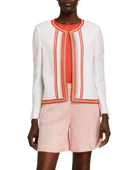 St. John Collection Basket Stripe-Knit Open Front Jacket