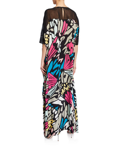 St. John Collection Monarch Butterfly-Print Caftan