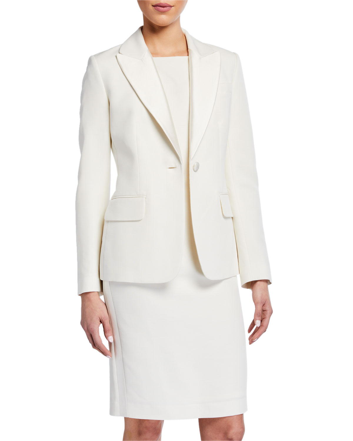 St. John Collection Tuxedo Faille Jacket with Mikado Lapel and Matching Items & Matching Items