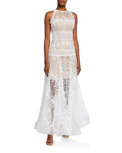 Megan Embroidered Lace Maxi Halter Gown