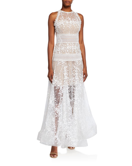 Bronx and Banco Megan Embroidered Lace Maxi Halter Gown