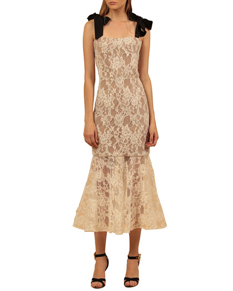 Bronx and Banco Willow Bow-Shoulder Flared Lace Midi Dress