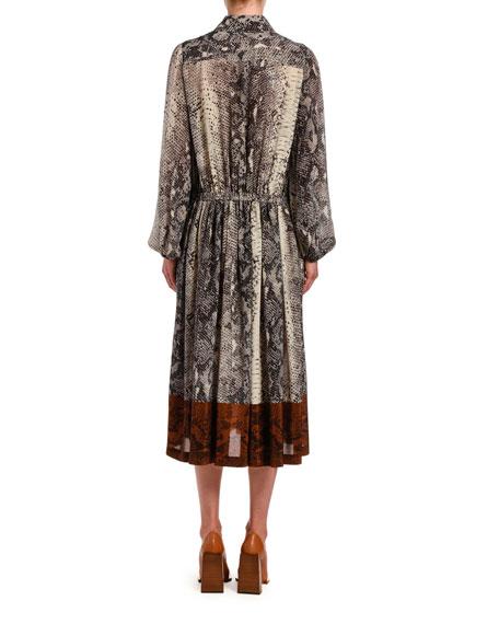 No. 21 Snake-Print Silk Midi Dress