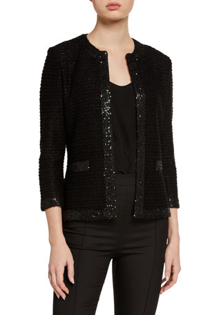 St. John Collection Glittered Texture-Striped Knit Sweater